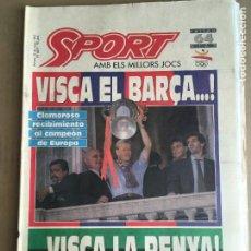 Coleccionismo deportivo: DIARIO SPORT VISCA EL BARÇA COPA EUROPA 1992 CAMPEON CRUYFF DREAM TEAM Nº 4497 22 MAYO 1992. Lote 247076695