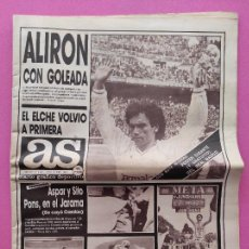 Coleccionismo deportivo: DIARIO AS REAL MADRID CAMPEON LIGA 87/88 ALIRON 1987/1988 HUGO SANCHEZ 6-0 BETIS - ASCENSO ELCHE. Lote 247407710