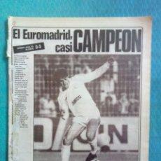 Coleccionismo deportivo: DIARIO AS 1985, 9 DE MAYO NUM 5467 EUROMADRID COPA DE LA UEFA VIDEOTON 0 REAL MADRID 3. Lote 248149425