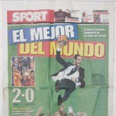Coleccionismo deportivo: DIARIO SPORT 28 - 05 - 09 FUTBOL CLUB BARCELONA CAMPEON EUROPA CAMPIONS LEAGUE 2009. Lote 249213505
