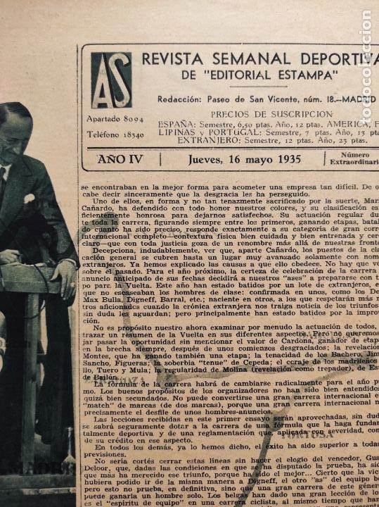 Coleccionismo deportivo: PERIODICO AS 1935 Nº EXTRAORDINARIO GUSTAVO DELOOR GANADOR PRIMERA VUELTA CICLISTA - ALEMANIA-ESPAÑA - Foto 8 - 251932615