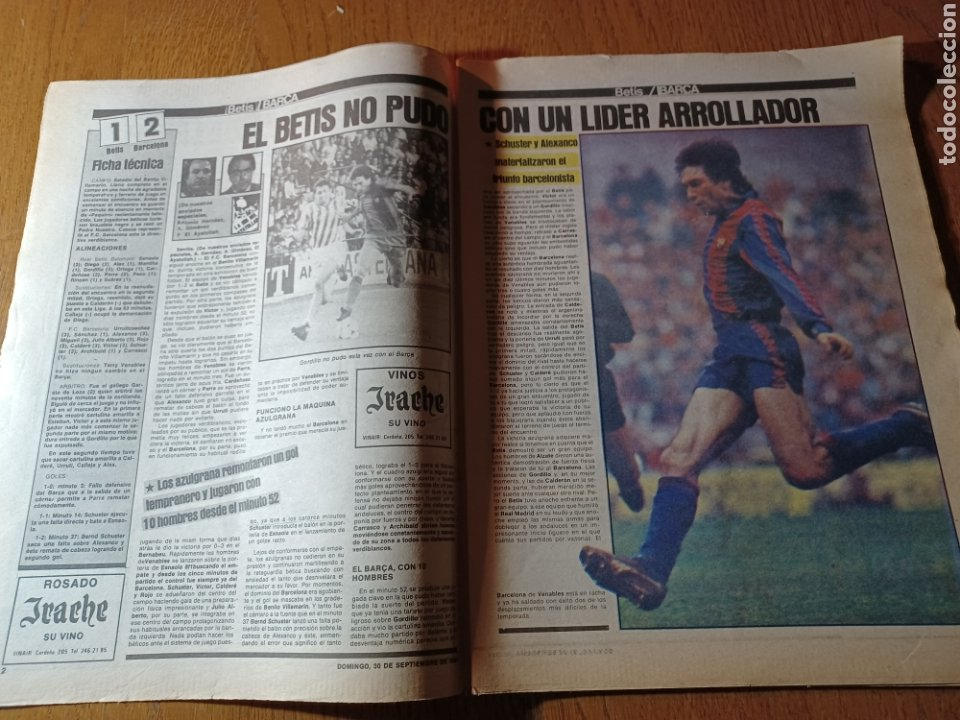 Coleccionismo deportivo: SPORT 30 SEPTIEMBRE 1984. BARCA: ¡MAS LIDER !. BETIS 1 BARCA 2 - JORGE VALDANO -KARPOV , KASPAROV - Foto 2 - 252386555