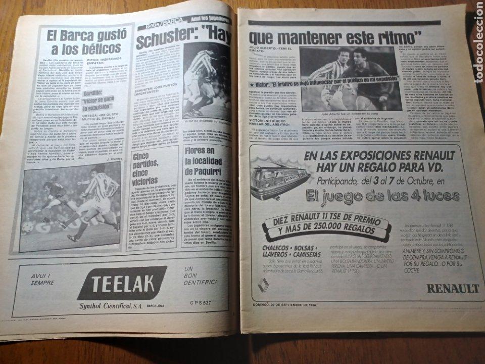 Coleccionismo deportivo: SPORT 30 SEPTIEMBRE 1984. BARCA: ¡MAS LIDER !. BETIS 1 BARCA 2 - JORGE VALDANO -KARPOV , KASPAROV - Foto 5 - 252386555