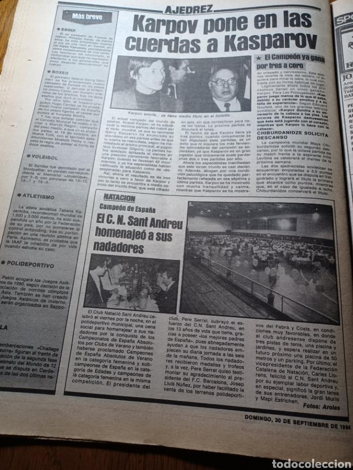 Coleccionismo deportivo: SPORT 30 SEPTIEMBRE 1984. BARCA: ¡MAS LIDER !. BETIS 1 BARCA 2 - JORGE VALDANO -KARPOV , KASPAROV - Foto 11 - 252386555