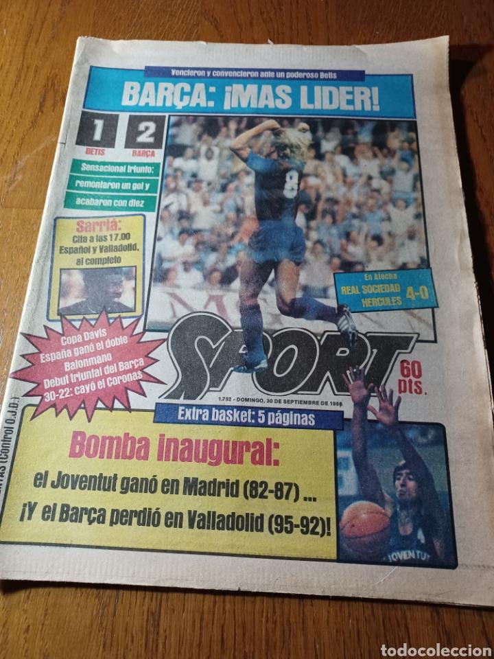 SPORT 30 SEPTIEMBRE 1984. BARCA: ¡MAS LIDER !. BETIS 1 BARCA 2 - JORGE VALDANO -KARPOV , KASPAROV (Coleccionismo Deportivo - Revistas y Periódicos - Sport)