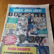 Coleccionismo deportivo: SPORT 30 SEPTIEMBRE 1984. BARCA: ¡MAS LIDER !. BETIS 1 BARCA 2 - JORGE VALDANO -KARPOV , KASPAROV. Lote 252386555