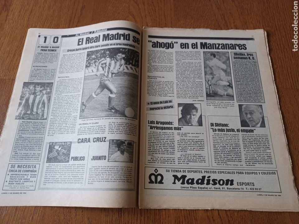 Coleccionismo deportivo: SPORT 5 MARZO 1984. AT.MADRID 1 R.MADRID 0. ATHLETIC 1 ESPAÑOL 1 . SE CALIENTA LA LIGA - Foto 6 - 252454305