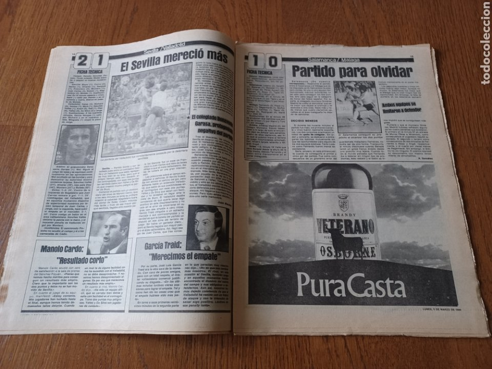 Coleccionismo deportivo: SPORT 5 MARZO 1984. AT.MADRID 1 R.MADRID 0. ATHLETIC 1 ESPAÑOL 1 . SE CALIENTA LA LIGA - Foto 8 - 252454305