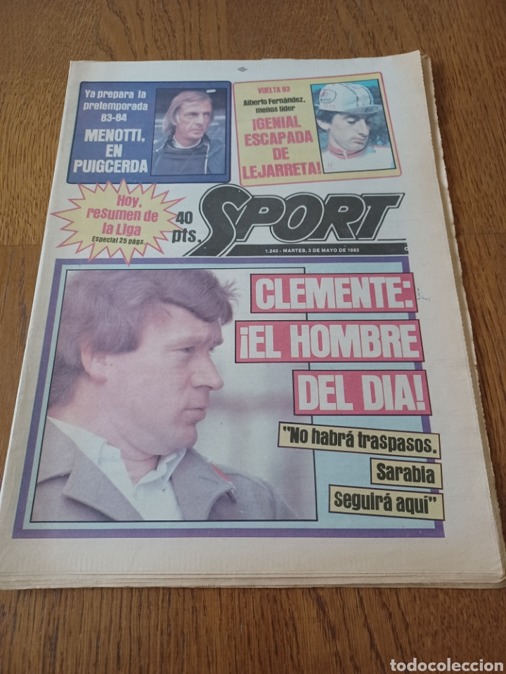 SPORT 3 MAYO 1983.CLEMENTE ¡EL HOMBRE DEL DIA!. MENOTTI ,YA PREPARA LA PRETEMPORADA.EXTRA LIGA 25 PG (Coleccionismo Deportivo - Revistas y Periódicos - Sport)