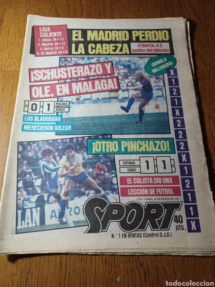 SPORT 12 MARZO 1984 MÁLAGA 0 BARCA1 . ¡ SCHUSTERAZO Y OLE , EN MÁLAGA!- EL MADRID PERDIÓ LA CABEZA. (Coleccionismo Deportivo - Revistas y Periódicos - Sport)