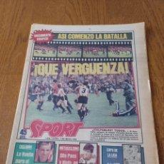 Collectionnisme sportif: SPORT 7 MAYO 1984 ¡ QUE VERGÜENZA! ASI COMENZÓ LA BATALLA .DOCUMENTO GRAF FINAL COPA BARCA - BILBAO. Lote 253252620