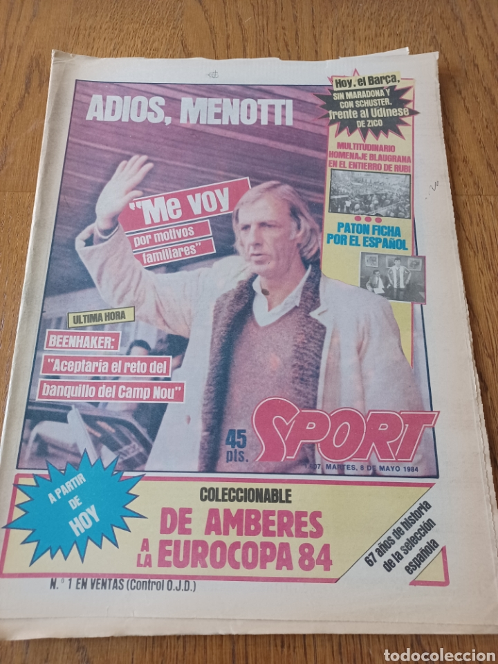 SPORT 8 MAYO 1984.ADIOS MENOTTI- BENNHAKER ACEPTARIA EL RETO. COLECCIONABLE DE AMBERES A LA EURO 84 (Coleccionismo Deportivo - Revistas y Periódicos - Sport)