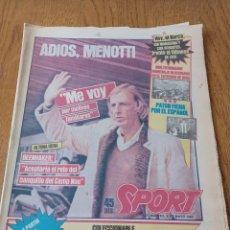 Coleccionismo deportivo: SPORT 8 MAYO 1984.ADIOS MENOTTI- BENNHAKER ACEPTARIA EL RETO. COLECCIONABLE DE AMBERES A LA EURO 84. Lote 253263435