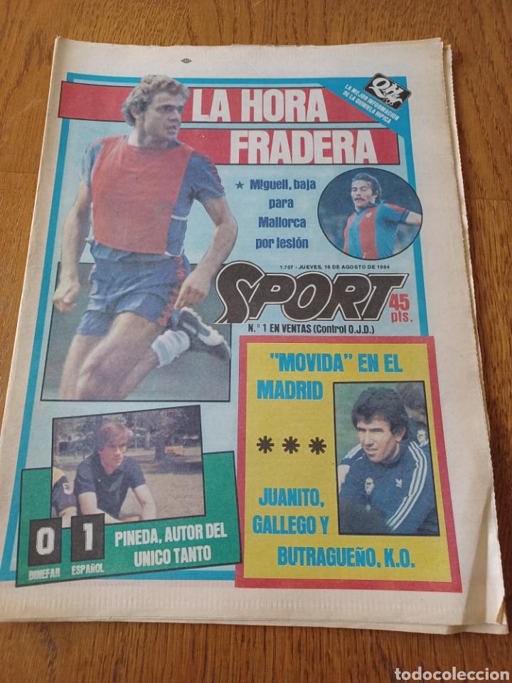 """SPORT 16 AGOSTO 1984. LA HORA FRADERA - """"MOVIDA"""" EN EL MADRID JUANITO, GALLEGO Y BUTRAGUENO. K.O. (Coleccionismo Deportivo - Revistas y Periódicos - Sport)"""