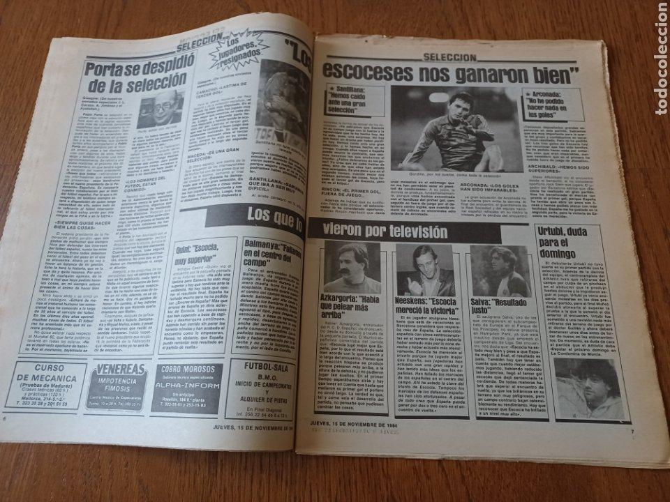 Coleccionismo deportivo: SPORT 15 NOVIEMBRE 1984. ESCOCIA 3 ESPAÑA 1 ¡ QUÉ BAÑO! .ARKONADA Y VÍCTOR, LOS MEJORES. URQUIAGA. - Foto 4 - 253825260