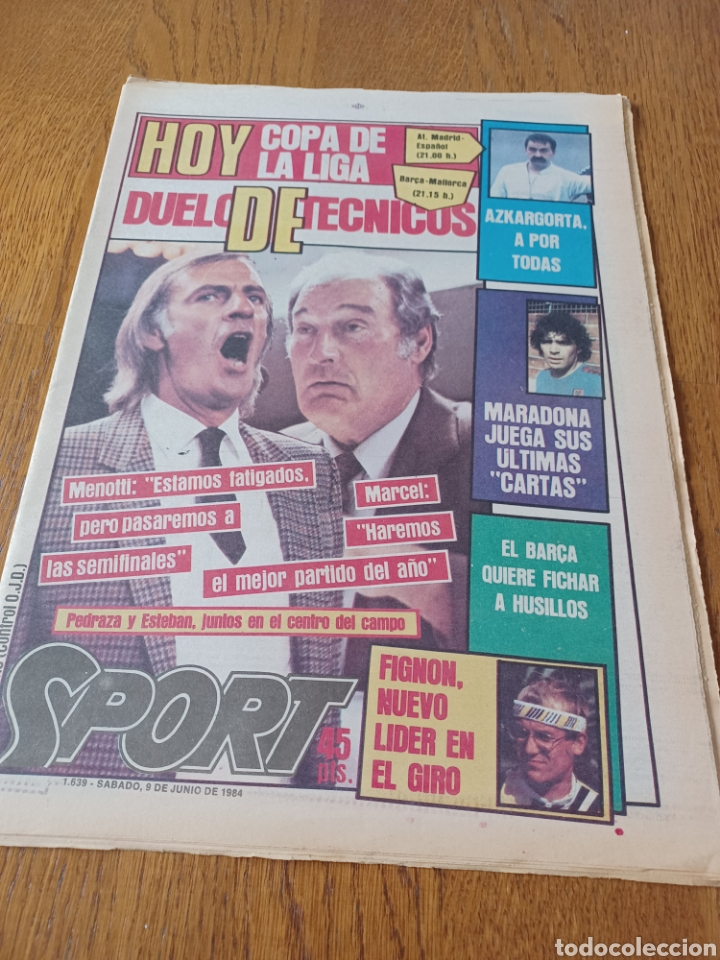 SPORT 9 JUNIO 1984.COPA DE LA LIGA. BARCA- MALLORCA MARADONA JUEGA SUS ÚLTIMAS CARTAS . ARKONADA (Coleccionismo Deportivo - Revistas y Periódicos - Sport)