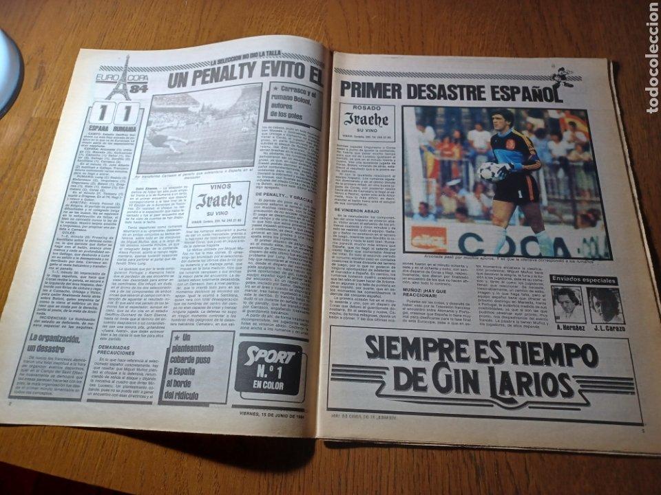 Coleccionismo deportivo: SPORT 15 JUNIO 1984. EUROCOPA , ESPAÑA 1 RUMANÍA 1 .CARRASCO SALVO EL HONOR. ALEMANIA 0 PORTUGAL 0 - Foto 2 - 253868030