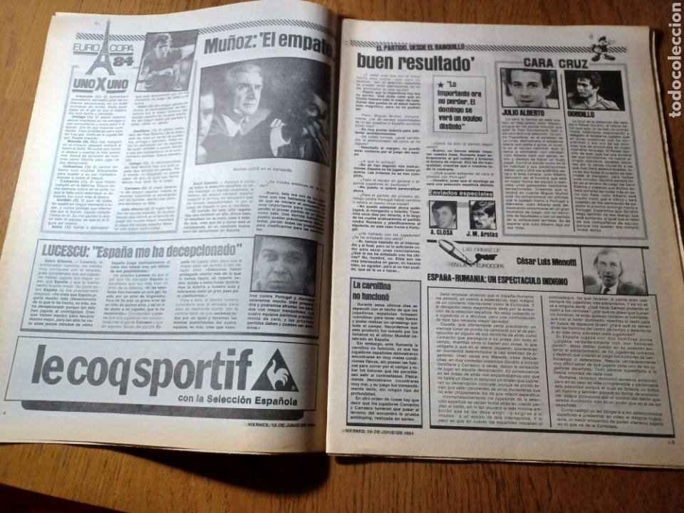 Coleccionismo deportivo: SPORT 15 JUNIO 1984. EUROCOPA , ESPAÑA 1 RUMANÍA 1 .CARRASCO SALVO EL HONOR. ALEMANIA 0 PORTUGAL 0 - Foto 3 - 253868030
