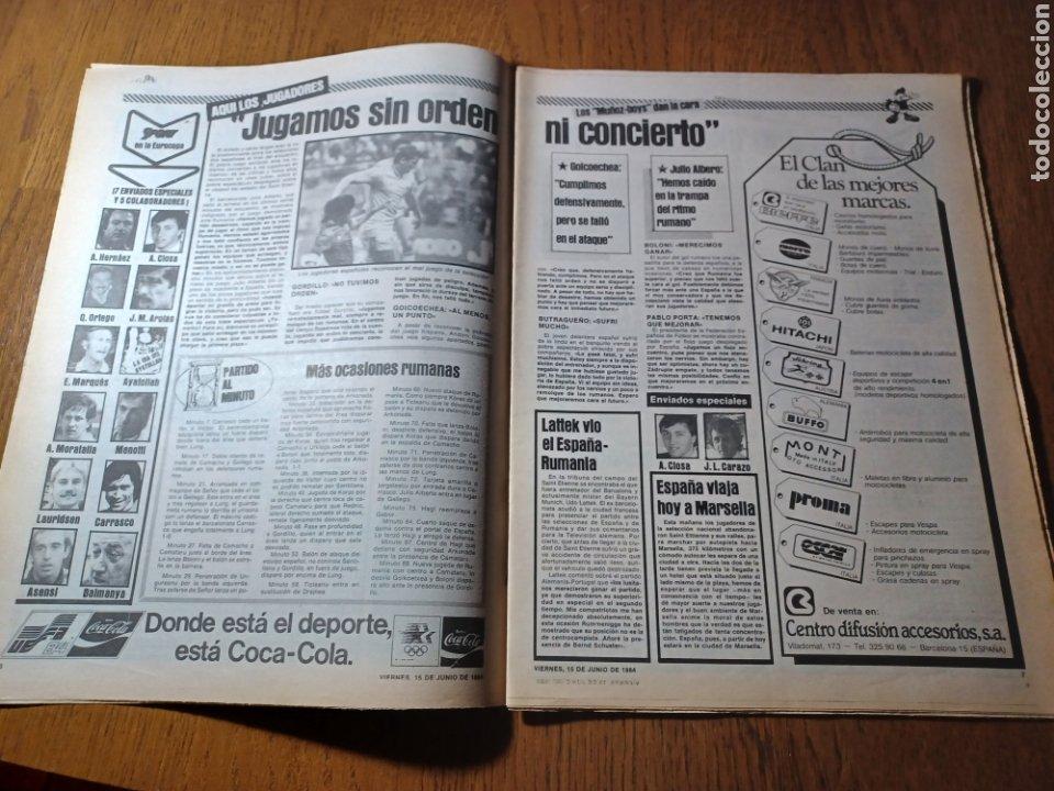 Coleccionismo deportivo: SPORT 15 JUNIO 1984. EUROCOPA , ESPAÑA 1 RUMANÍA 1 .CARRASCO SALVO EL HONOR. ALEMANIA 0 PORTUGAL 0 - Foto 4 - 253868030