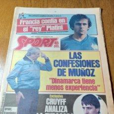 Coleccionismo deportivo: SPORT 22 JUNIO 1984. EUROCOPA SEMIFINALES .CRUYFF ANALIZA LA EUROCOPA. Lote 253902710