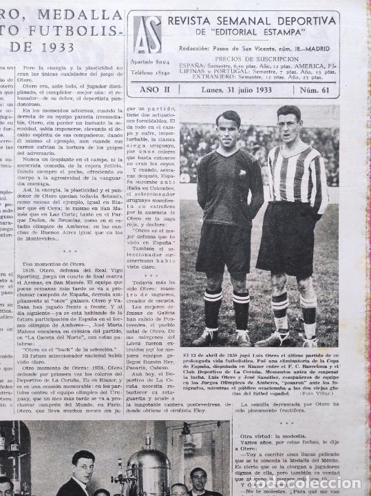 Coleccionismo deportivo: PERIODICO AS Nº 61 1933 VICENTE TRUEBA REY MONTAÑA TOUR FRANCIA 33 - CLUB IZARRA EIBAR - COPA DAVIS - Foto 2 - 254859350