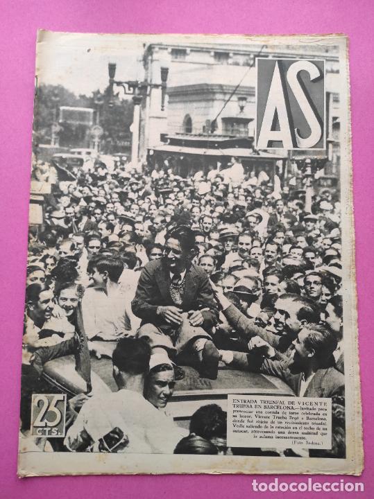 PERIODICO AS Nº 61 1933 VICENTE TRUEBA REY MONTAÑA TOUR FRANCIA 33 - CLUB IZARRA EIBAR - COPA DAVIS (Coleccionismo Deportivo - Revistas y Periódicos - As)