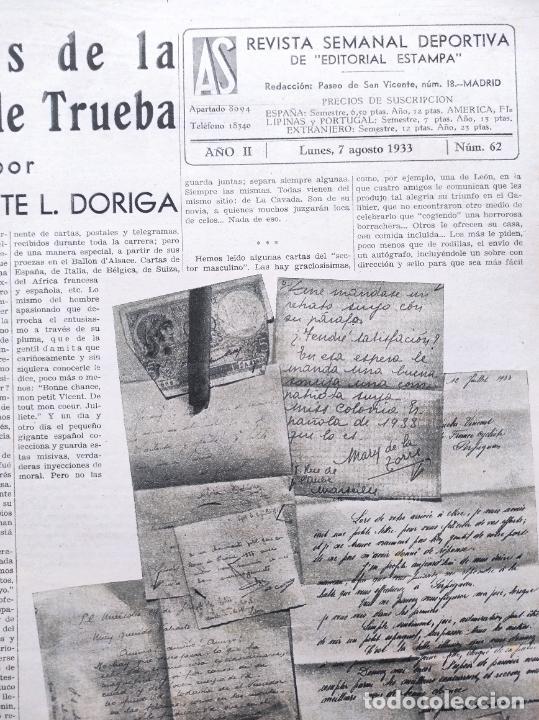 Coleccionismo deportivo: PERIODICO AS Nº 62 1933 CLUB PROMONTORIO SANTANDER - COPA DAVIS ESPAÑA - DIA DEL SOL ALEMANIA - Foto 2 - 254860140