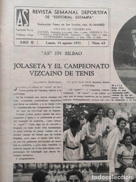 Coleccionismo deportivo: PERIODICO AS Nº 63 1933 CAMPEONATO ESPAÑA ATLETISMO - CICLISMO VUELTA GALICIA - CASTILLA NATACION - Foto 2 - 254860275