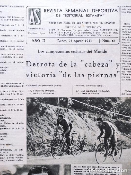 Coleccionismo deportivo: PERIODICO AS Nº 64 1933 SEVILLA FC - CADIZ MIRANDILLA - TRAINERAS CANTABRICO - ATHELTIC CLUB BILBAO - Foto 2 - 254860860
