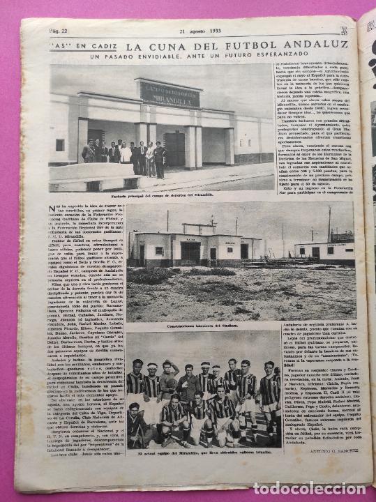 Coleccionismo deportivo: PERIODICO AS Nº 64 1933 SEVILLA FC - CADIZ MIRANDILLA - TRAINERAS CANTABRICO - ATHELTIC CLUB BILBAO - Foto 8 - 254860860