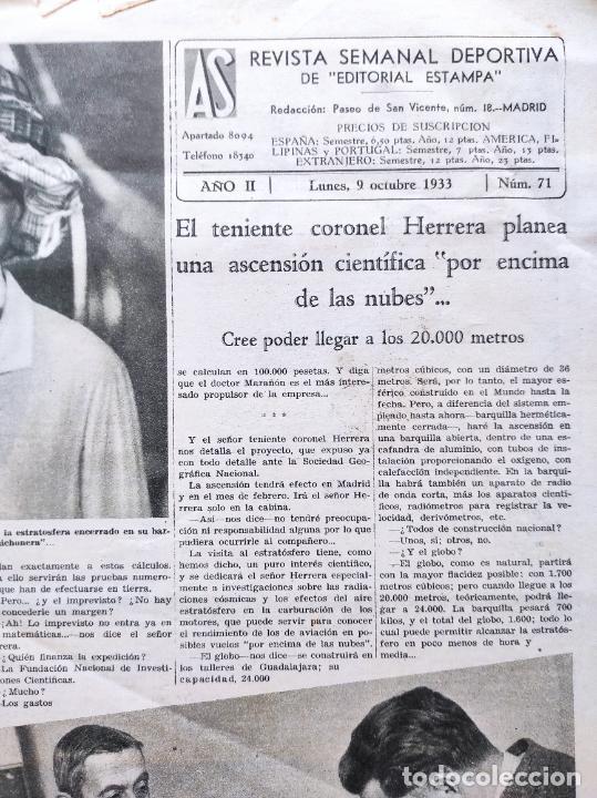 Coleccionismo deportivo: PERIODICO AS Nº 71 1933 SEVILLA FC - CAMPEONATOS REGIONALES 33 - RIMET FIFA - ATLETISMO FEMENINO - Foto 2 - 254878710
