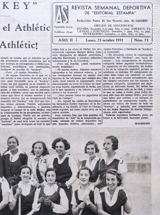 Coleccionismo deportivo: PERIODICO AS Nº 73 1933 BOXEO PAULINO UZCUDUN - CAMPEONATOS REGIONALES 33 - LEVANTE SABADELL - Foto 2 - 254879160