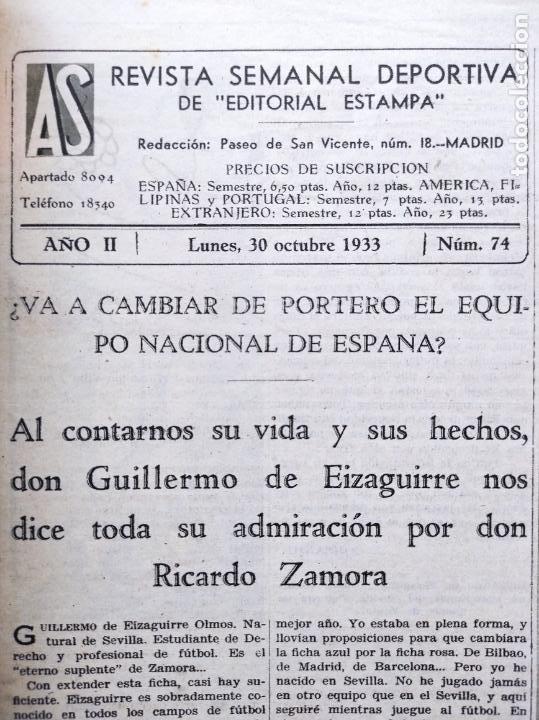 Coleccionismo deportivo: PERIODICO AS Nº 74 1933 BOXEO UZCUDUN - CAMPEONATOS REGIONALES 33 MADRID CAMPEON - BETIS - Foto 2 - 254879445