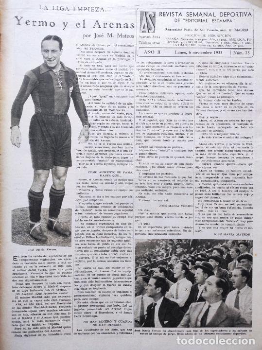 Coleccionismo deportivo: PERIODICO AS Nº 75 1933 RIVER PLATE - ARENAS GETXO - LIGA 33/34 - ANTONIO ESCURIET CICLISMO - Foto 2 - 254880550