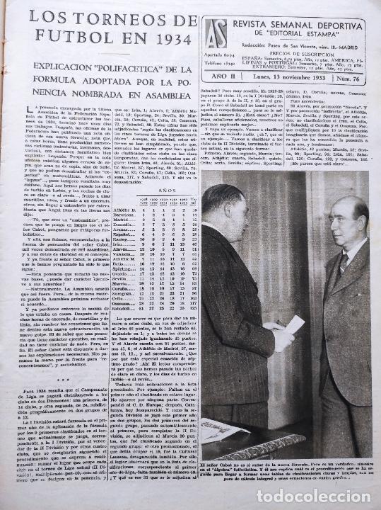 Coleccionismo deportivo: PERIODICO AS Nº 76 1933 LIGA 33/34 MADRID-VALENCIA - RACING SANTANDER - MURCIA-ATLETICO SEVILLA - Foto 2 - 254881070