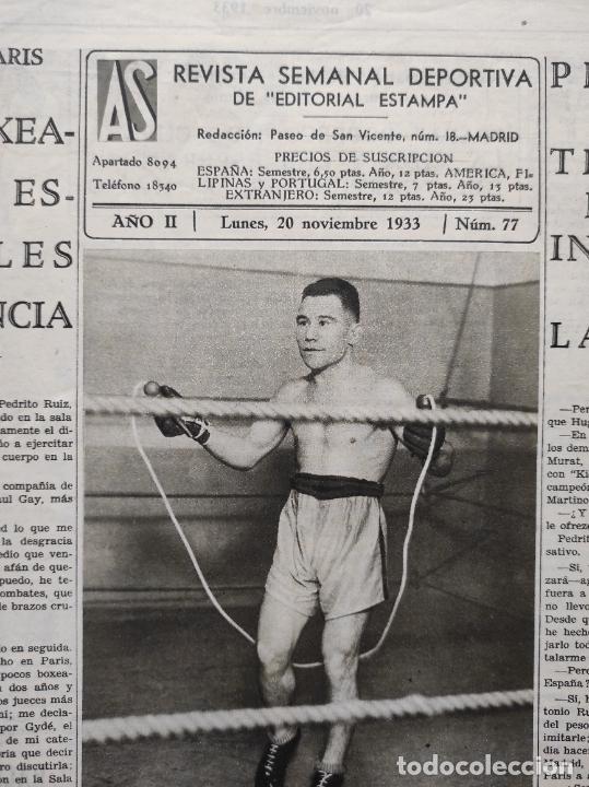Coleccionismo deportivo: PERIODICO AS Nº 77 1933 CELTA VIGO CAMPEON GALICIA - LIGA 33/34 OVIEDO DONOSTIA - SOLADRERO BETIS - Foto 2 - 254881505