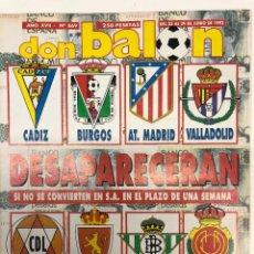 Collectionnisme sportif: REVISTA DON BALÓN Nº869 EUROCOPA 1992 Y S.A EN EL FÚTBOL. Lote 255449635