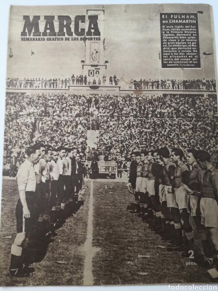 1949 - DIARIO MARCA, SEMANARIO GRÁFICO DEPORTES N° 338. REAL MADRID. CAMPO TIRO CHAMARTIN. KUTZ (Coleccionismo Deportivo - Revistas y Periódicos - Marca)
