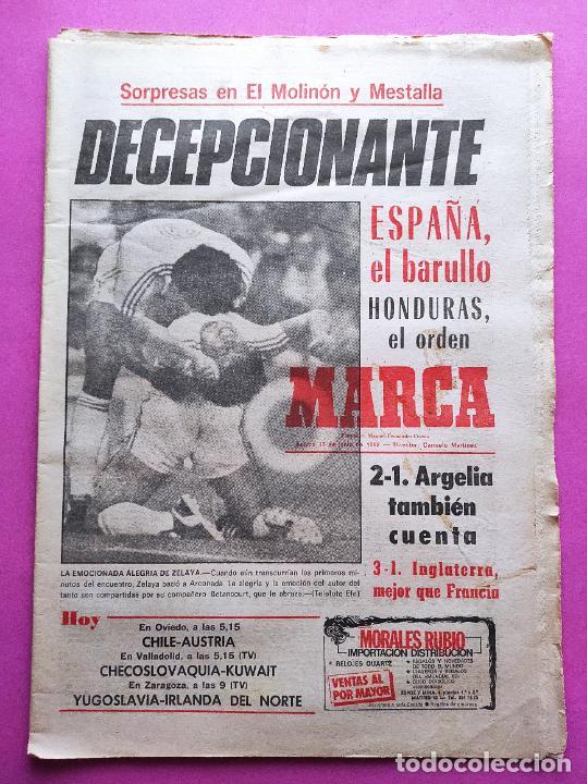 DIARIO MARCA MUNDIAL 82 ESPAÑA 1-1 HONDURAS FIFA WORLD CUP 1982 WC ALGERY ENGLAND FRANCE (Coleccionismo Deportivo - Revistas y Periódicos - Marca)