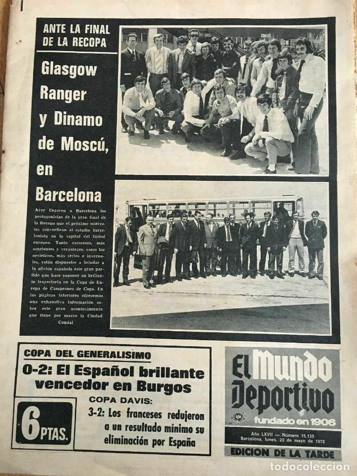 MUNDO DEPORTIVO (22-5-72) RECOPA EUROPA FINAL GLASGOW RANGERS DINAMO MOSKVA MOSCU (Coleccionismo Deportivo - Revistas y Periódicos - Mundo Deportivo)