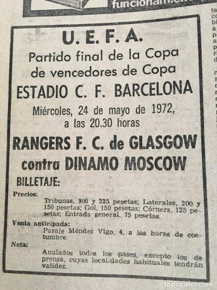 Coleccionismo deportivo: MUNDO DEPORTIVO (22-5-72) RECOPA EUROPA FINAL GLASGOW RANGERS DINAMO MOSKVA MOSCU - Foto 4 - 262170915
