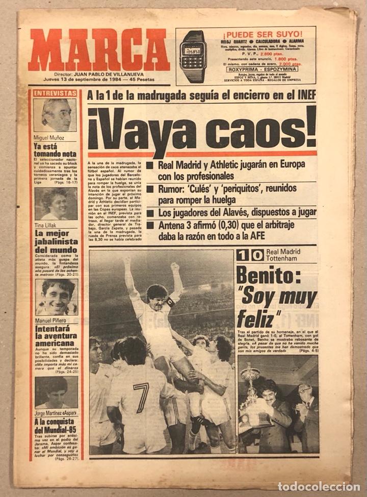 MARCA (13 SEPTIEMBRE 1984). HUELGA FÚTBOL, REAL MADRID-ARSENAL, MIGUEL MUÑOZ, MANUEL PIÑEIRO, ASPAR, (Coleccionismo Deportivo - Revistas y Periódicos - Marca)