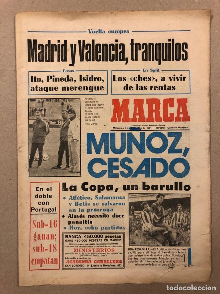 MARCA (9 DICIEMBRE 1981) MIGUEL MUÑOZ CESADO, REAL MADRID, VALENCIA, COPA DEL REY, SUB-16 Y SUB-18 (Coleccionismo Deportivo - Revistas y Periódicos - Marca)