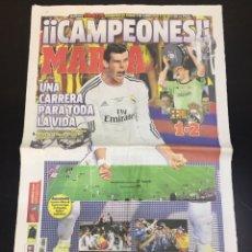 Colecionismo desportivo: PERIÓDICO MARCA 17 DE ABRIL DE 2014. CAMPEONES!!! REAL MADRID COPA REY. COMPLETO.. Lote 263555490