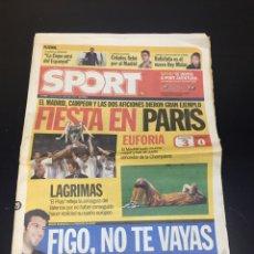Collectionnisme sportif: PERIÓDICO ANTIGUO SPORT 25 DE MAYO DEL 2000. FIESTA EN PARIS. LA OCTAVA DEL REAL MADRID. COMPLETO.. Lote 263565155