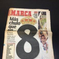 Colecionismo desportivo: PERIÓDICO ANTIGUO MARCA 25 MAYO DEL 2000. MÁS CHULO QUE UN 8. LA OCTAVA DEL REAL MADRID. COMPLETO. Lote 263565435
