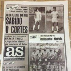 Coleccionismo deportivo: AS (18-10-1980) SABIDO CORTES CASTILLA ATLETICO MADRILEÑO TUSET VALENCIA SANTILLANA REAL MADRID. Lote 263642060