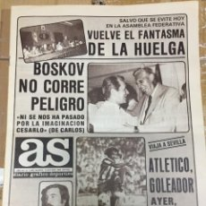 Coleccionismo deportivo: AS (10-10-1980) BOSKOV HUELGA AFE CASTAÑON MORENA VALENCIA STIELIKE REAL MADRID. Lote 263644755