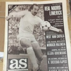 Coleccionismo deportivo: AS(1-10-1980)REAL MADRID LIMERICK WEST HAM CASTILLA VALENCIA GIJON BOHEMIANS REAL UJPEST M. BUSTILLO. Lote 263647410