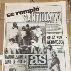 Coleccionismo deportivo: AS (11-9-1980) SANTILLANA REAL MADRID RUIZ ATLETICO 0-2 MOSCARDO SANTAMARIA PEPE BAÑON AMADOR. Lote 263669670